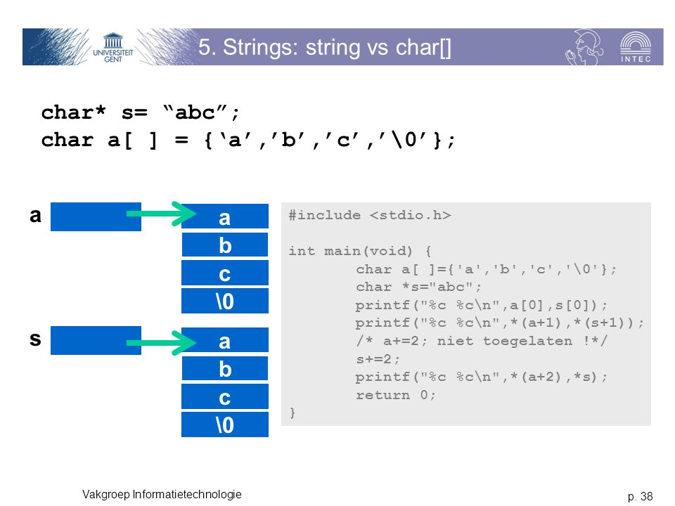 5. Strings: string vs char[]